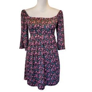 2 Hearts Black & Pink Floral Off The Shoulder Peasant Dress